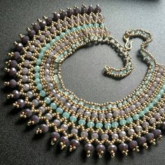 Purple and green netted necklace beadwork necklace by INCISTYLE