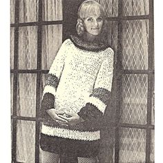 A-Line Knitted Dress Pattern Long Sleeves Big Needle.   This is a loose-fitting A-line dress featuring long sleeves and a large round collar and color bands at sleeve ends and the bottom of the dress. The pattern is quick and easy to make using Big Needles - Junior Jumbo Jets - Size 32.