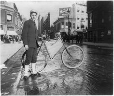 Photo by Alice Austen, 1896. Street types of New York City: Messenger boy and bike www.loc.gov/pictures/item/2002699100/ for online record at Library of Congress.