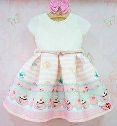 Vestido de Festa Neoprene Cupcakes Petit Cherie