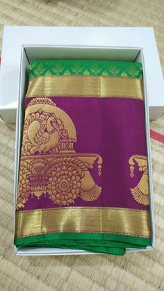 Banarsi Saree, Silk Saree Kanchipuram, Kanjivaram Sarees, Katan Saree, South Indian Sarees, Party Sarees, Peacock Design, Folk Embroidery, Elegant Saree