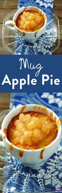 Mug Apple Pie Recipe - Make your own delicious apple pie in a mug! Ingredients include 1 can apple pie filling, 1/4 cup all-purpose flour, 3 tablespoons old fashioned oats, 3 tablespoons dark brown sugar, 2 tablespoons pecan chips, 1/4 teaspoon ground cinnamon and 2 tablespoons butter. It's a great dessert to satisfy your sweet tooth!
