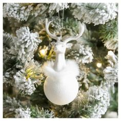 Weiste White Glitter Stag Christmas Tree Decoration
