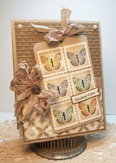 It's a Stamp Thing: Thinking of You- distressed look. muted colors. butterflies.