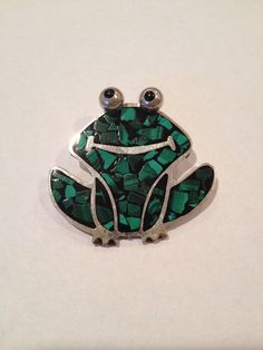 Malachite Sterling Frog Pendant Brooch Pin Onyx by BargainBitz