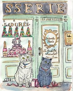 Does your pet want to go to Paris? This is 'London' visiting Paris. Madge and Mollie in Paris ensemble/ together. Cat Sushi, I Love Cats, Crazy Cats, Illustrations, Illustration Art, Japan Kawaii, Watercolor Postcard, Photo Chat, Oui Oui