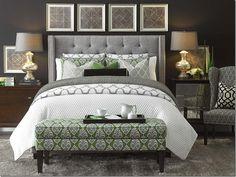 Bedroom. Grey Tufted Headboard. Green Accents. Mercury Glass Lamps.