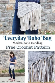 Modern, chic, and easy to make, the Everyday Boho Bag will be your favorite croc… – Crochet 2020 Free Crochet Bag, Crochet Purse Patterns, Crochet Clutch, Crochet Purses, Quick Crochet, Crochet Bags, Bohemian Crochet Patterns, Modern Crochet, Bag Patterns