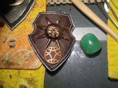 Sun shield pendent Polymer Clay Art, Sun, Solar