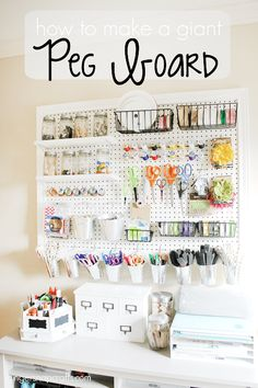 How to make A huge DIY PegBoard by GingerSnap Crafts. If you're in need of craft storage ideas for your craft room then this list is exactly what you need to read! #craftstorage #craft #craftsupplies #craftroom