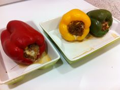 Baked peppers, stuffed with corn, peas, apple, minced meat, mozzarella and cheese.