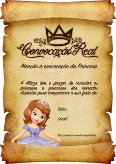 Convite Pergaminho Princesa Sofia 2 Le Pilates, Snow White Birthday, Sofia Party, Maria Clara, Ideas Para Fiestas, Princess Party, Holidays And Events, Beauty And The Beast, 2nd Birthday