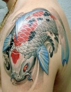 koi fish tattoo for men on shoulder 233x300 Best Koi Fish Tattoo Ideas