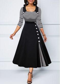 Party Dresses For Women Button Detail Stripe Print High Waist Dress Tight Dresses, Sexy Dresses, Casual Dresses, Dresses For Work, Summer Dresses, Formal Dresses, Wedding Dresses, Pretty Dresses, Sparkly Dresses