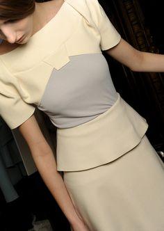 grey/yellow peplum dress