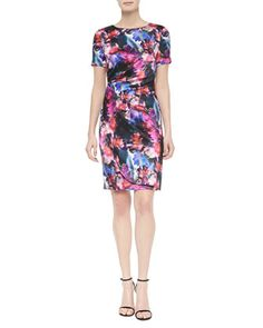 Mini Floralscape-Print Tuck-Pleated Dress, Caviar Multi by St. John Collection at Neiman Marcus.