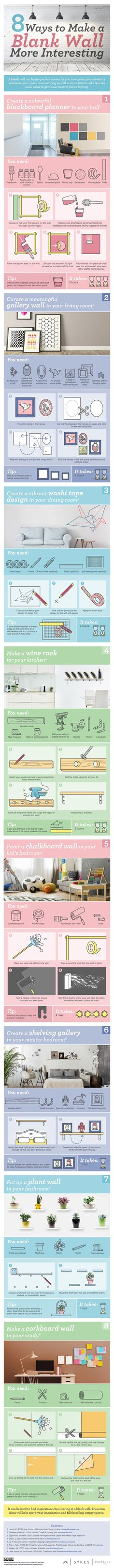 8 Ways to Make a Blank Wall More Interesting #infographic #HomeImprovement