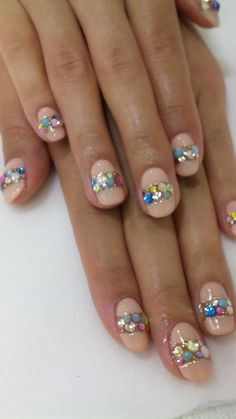 nude nails with gems. cute