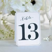 Ornate White Table Numbers 13 thru 24