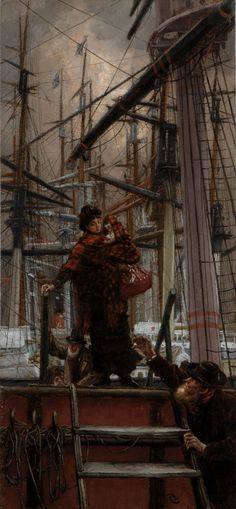 Emigrants, oil on panel by James Jacques-Joseph Tissot, French artist and illustrator, Private Collection. Tissot was a successful genre artist of fashionable women in Paris and. Joseph, Victorian Art, Victorian Paintings, French Artists, Beautiful Paintings, Love Art, Painting & Drawing, Art History, Amazing Art
