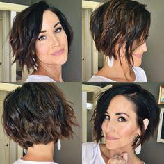 Haircuts For Wavy Hair, Inverted Bob Hairstyles, Short Hair Cuts, Curly Inverted Bob, Short Textured Haircuts, Short Asymmetrical Hairstyles, Short Textured Bob, Edgy Short Hair, Medium Hair Styles