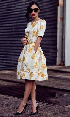 #street #style yellow flower print dress @Wachabuy