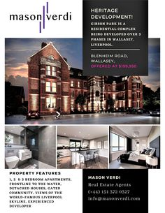 @masonverdi   We are extremely proud and excited to launch this amazing development.   Gibson Park Development. The location is one of a kind. It is very rare to find a location with uninterrupted Liverpool skyline views but also be away from the hustle and bustle of city centre living. you can see all the top class property features by visiting our site. you can directly call us on our Liverpool Office at 01513720327. #gibsonpark#propertydevelopment #development #wirralestateagents Liverpool Skyline, Liverpool City Centre, New Brighton, Residential Complex, 3 Bedroom Apartment, Property Development, Estate Agents, Gated Community, Bustle