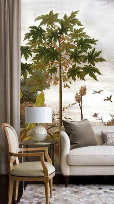 Ananbô, le jardin au papillon - Papier peint panoramique