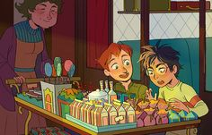 Harry and Ron - the first time Harry sees wizard candy on the Hogwarts Express