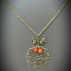 Collier sautoir bronze perles oranges
