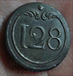 Bottone della giacca del 128 rgt. fanteria