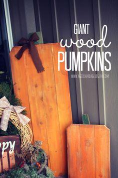 giant wood slat pumpkins - A girl and a glue gun