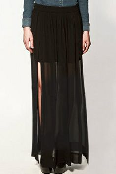 abaday Double-layered Split Side Black Chiffon Maxi Skirt - Fashion Clothing, Latest Street Fashion At Abaday.com