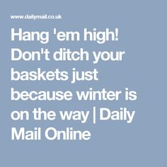 Hang 'em high! Don't ditch your baskets just because winter is on the way | Daily Mail Online