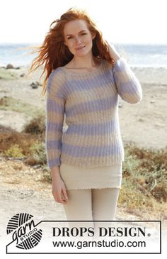 Knitted DROPS jumper with English rib in Vivaldi or Brushed Alpaca Silk with ¾ sleeves. Size: S - XXXL. Free pattern by DROPS Design.