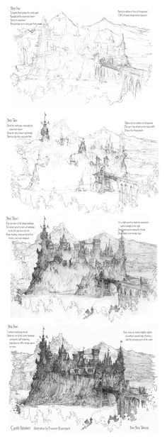 This should give a little insight into how I draw these castles. Four Step Castle Drawing Tutorial Drawing Techniques, Drawing Tutorials, Art Tutorials, Painting Tutorials, Cartoon Drawings, Cool Drawings, Drawing Sketches, Sketching, Drawing Art