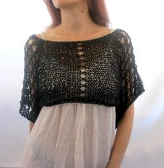 Cotton Summer Cropped Sweater Shrug in black color, hand knitted, ecofriendly via Etsy