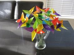Set of 12 Origami Four Point Star Flower Bouquet
