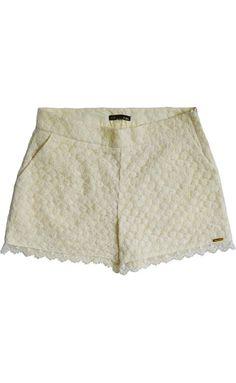 Shorts Feminino Modelagem Alfaiataria Em Renda