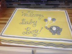 pink & gray elephant baby shower cake | Elephant Yellow And Grey Baby Shower Cake