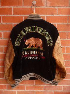 Super Rare Vintage O NEILL California Republic Bear Corduroy Skateboard skate…