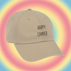 HAPPY CAMPER Baseball Hat Dad Hat Low Profile White Pink Black Casquette  Embroidered Unisex Adjustable Baseball Cap gifts for camping hat 15fbf406fb64