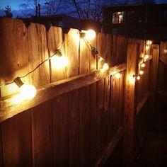 Globe String Lights On Fence. Patio String LightsGlobe String LightsBackyard  ProjectsBackyard IdeasOutdoor ...