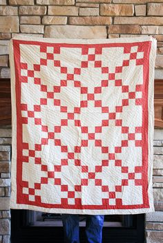 Vintage Red + White Baby Quilt by Jeni Baker, via Flickr