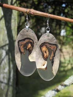 Stunning Ultra Light Weight Reclaimed Buckeye Burl Wood And Resin Earrings on Etsy, $49.95