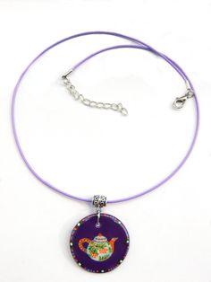 Handpainted teapot purple pendant teapot necklace by LaAmapolaRoja