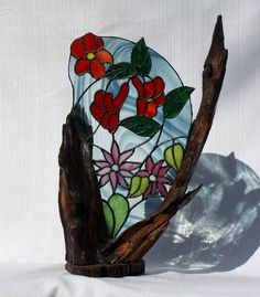 Stained Glass Floral Panel on Cherry Wood Base Art by BerlinGlass