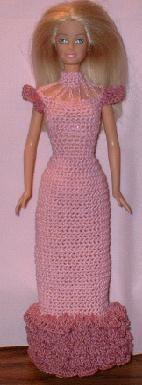 Ruffled evening gown - crochet pattern