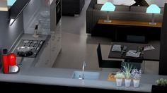 Moderne hoogglans keuken met bijpassend zitdeel
