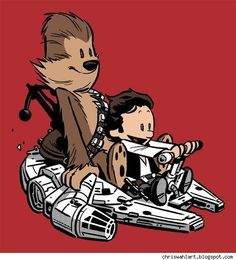 "Shirtoid has a whole series of characters as Calvin and Hobbes riding different ""sleds"" -- so many, in fact, that it feels more like a crass commercial grab than a loving homage. But there's still charm in this Chewie and Han illustration by Chris Wahl, perhaps because I could imagine Calvin actually playing at #StarWars."